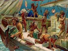 波士頓茶葉事件-印地安人倒茶葉入海